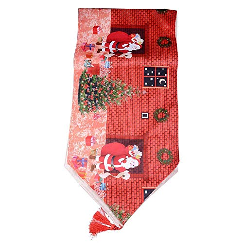 Santas Delivery Stocking Needlepoint - LiPing 15.7×59in Christmas Table Runners Red Pattern Santa Claus Tassel Home Decorative Party Decor Plastic Table Cloth Square Table Cover (A)