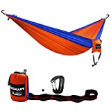 Image of SEGMART Camping Hammock- Easy Hanging Double Hammock with Tree Straps&Carabiners,Blue/Orange, 600lbs