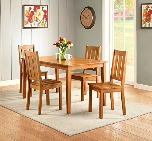 KITCHEN TABLE and CHAIRS 5 PIECE Wood DINNING Set for 4 Honey Finish