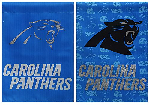 Team Sports America NFL Carolina Panthers Suede Glitter Accented Double Sided Garden Flag, Medium, -