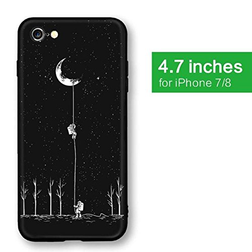 - Oorder Space Moon Astronaut Pattern Phone Cases For iphone 7 7 plus 8 8 plus Case Planet Star Frosted Soft Back Cover (for iphone 7 8/PC + TPU)
