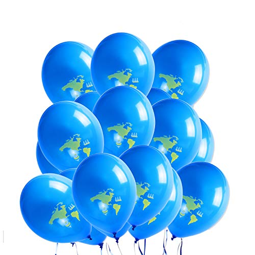 WERNNSAI Bon Voyage Party Decorations - Travel Themed Party Supplies 20 PCS Party Balloons Blue Earth Globe World Map Latex Balloon for Baby Shower Birthday Retirement Graduation Co-Worker Going Away
