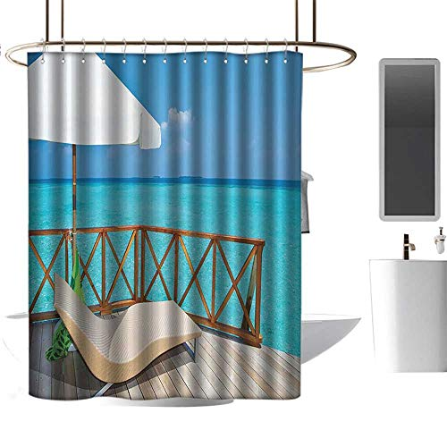 shower curtains for bathroom Coastal Decor Collection,Parasol and Chaise Lounges Deckchair on a Terrace of Water Villa in Maldives Reef Picture,Aqua Sandy Blue Ivory ,W72