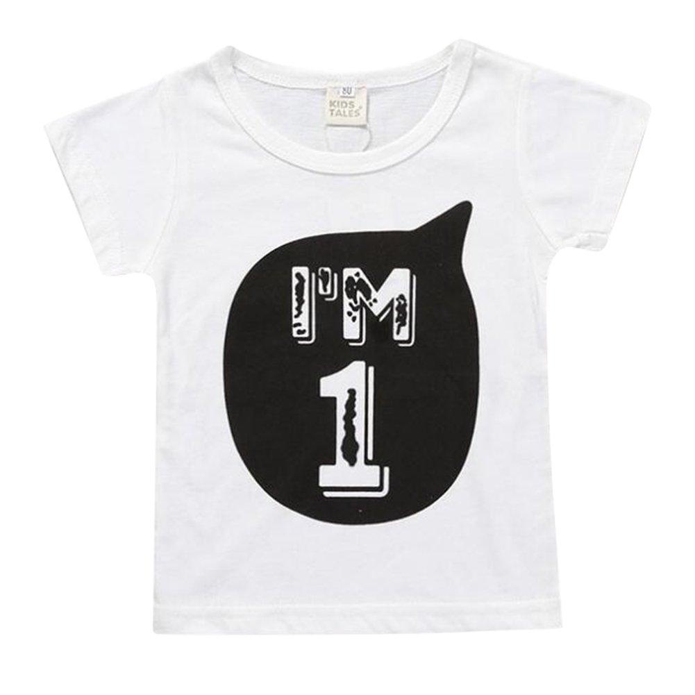 Mxssi Jungen Mädchen T-Shirt für Kinder Baby Figur 1 2 3 4 5 6 Druckmuster Tees