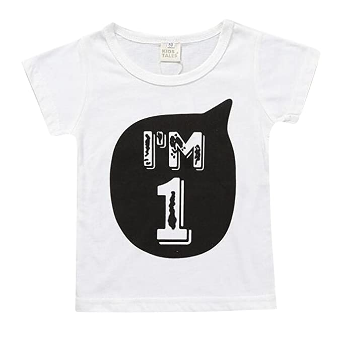 509e062c Hibote Toddler Cute Tee for Boys Girl Kids Cotton T-Shirt I am 1 2 3 4 5 6  Age Tops: Amazon.co.uk: Clothing