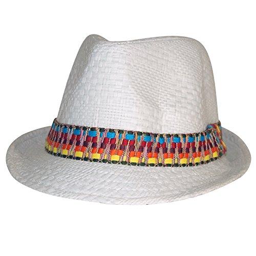 Chapeau-tendance - Trilby homme azteque blanc - - Homme