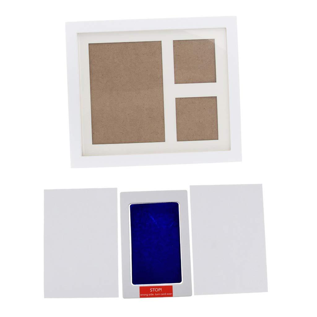 Blau FLAMEER Holz Wei/ße Bilderrahmen Sauber Ber/ührung Farbeabdruck Set Abdruckset Baby Handabdruck Fu/ßabdruck Baby Hand Fu/ß