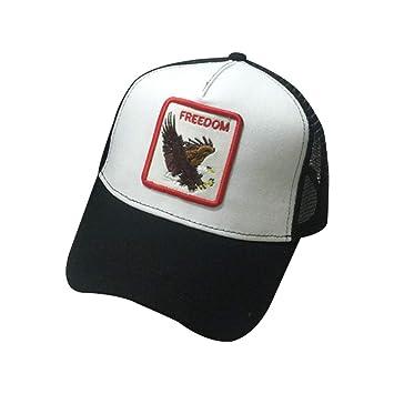 JOYKK Parejas Gorra de béisbol Animales Parche Bordado Hip Hop Malla Patchwork Ajustable Snapback Trucker Hat Verano Hombres Mujeres - 4# Eagle (Blanco + ...