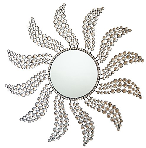 Fancy Wall Mirror Metal Crystals Decorative Lagre Sunburst Design for Living Room Kitchen Wall Mirror (Mirror Design Sunburst)