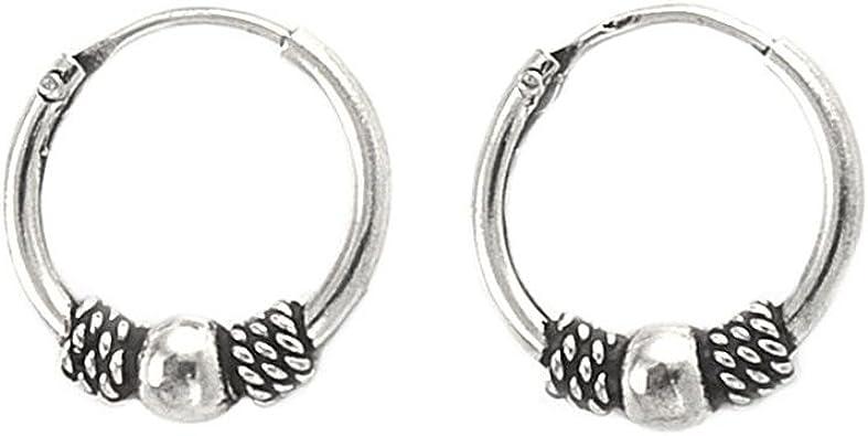 925 Sterling Silver Filigree Bali Bead Tribal Sleeper Boho Ethnic Hoop Earring