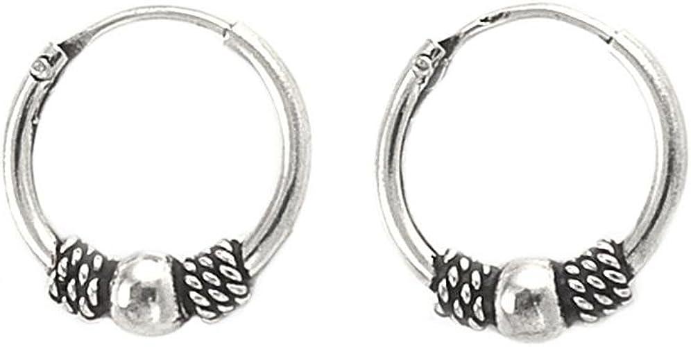 Bali Style Rope ball Endless 925 Sterling Silver Hoop Earrings 12mm