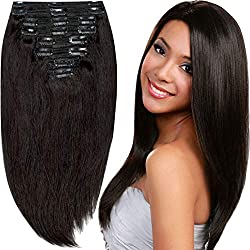 200g Real Triple Weft Extra Thick Clip in 100% Remy Human Hair Extensions Full Head (20 inch 200G 7.05Oz #1B Natural Black) 8 Pcs Set Grade 10A Natural Hair Pieces Long Straight for Women
