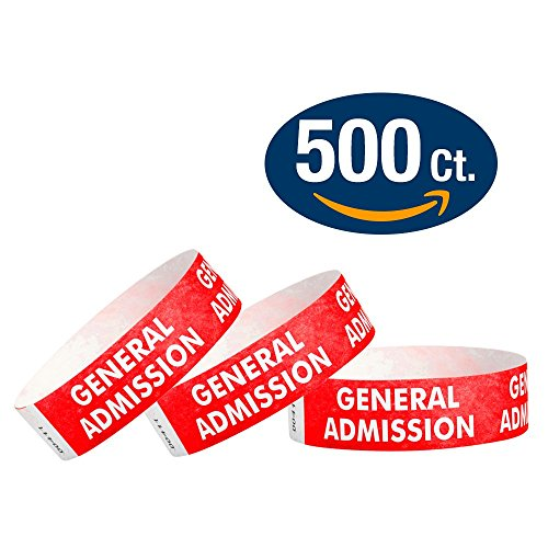 "WristCo Red General Admission 3/4"" Tyvek Wristbands - 500 Pack Paper Wristbands For Events"