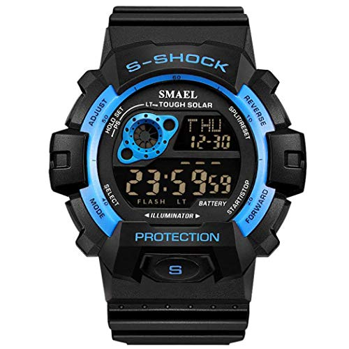 Men Military Watch,SMEAL Watch with Led Night Light Rubber Strap Casual Sport Wrist Watches (Blue)
