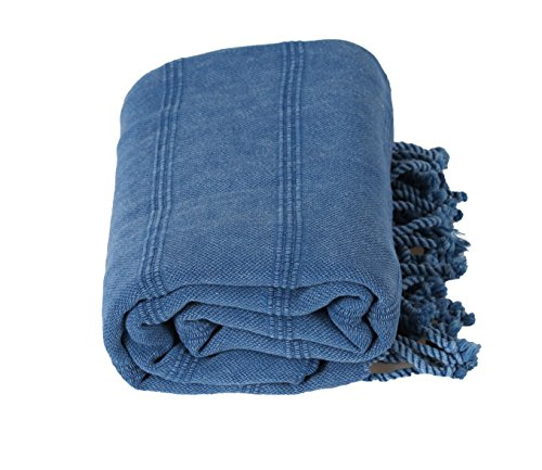 InfuseZen Stonewashed Turkish Towel, Unique Thin & Absorbent Bath Towel, Beach Towel and Pool Towel, Large Cotton Stone Washed Peshtemal Towels Weaved in Turkey, Hammam Spa Towels (Blue)