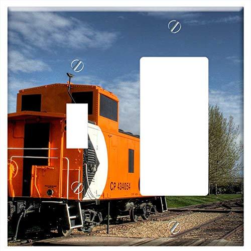 Rail Caboose - 1-Toggle 1-Rocker/GFCI Combination Wall Plate Cover - City Park Caboose Rail Car Train Quiet Recrea