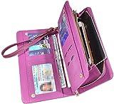 Women Lady Leather Wallet Zipper Purse RFID Credit Card Clutch Holder Case Girl (Crosshath Purple)