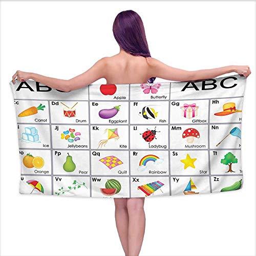 white bath towels Kids,Funny Educational Alphabet Letters Kite Xylophone Ladybug Zucchini Drum Lovers Art Prints Nursery Decor Design,Blue Green Purple Yellow,W20