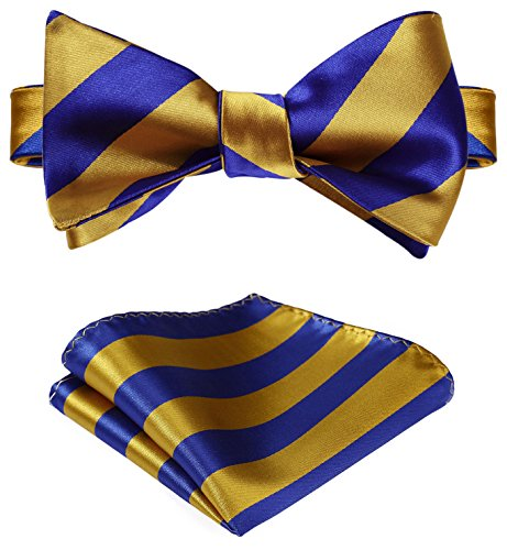 SetSense Men's Stripe Jacquard Woven Self Bow Tie Set One Size Gold/Blue