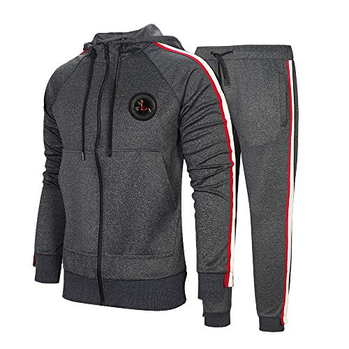Men's Sports Casual Tracksuit Set Hooded Long Sleeve Running Jogging Sweat Suits Dark Gray 2XL #23