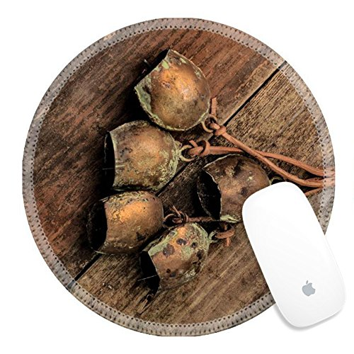 Luxlady Round Gaming Mousepad 26845659 Some retro metal cowbells on a wooden (Personalized Cowbells)