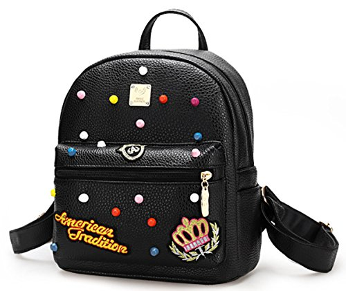 Keshi Pu neuer Stil Schulrucksäcke/Rucksack Damen/Mädchen Vintage Schule Rucksäcke mit Moderner Streifen für Teens Jungen Studenten Pink LtF9Tch4U