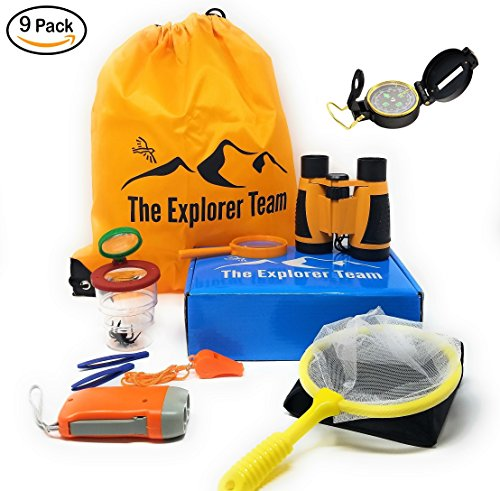 ids - Binoculars With Magnification, Hand Crank Flashlight, Whistle, Magnifying Glass, and Carry Bag (Crank Flashlight Set)