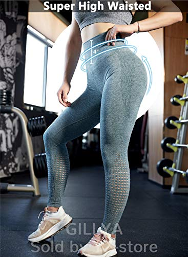 GILLYA Gym Vital Seamless Leggings for Women High Waisted Seamless Butt Leggings with Tummy Control Seamless Yoga Leggings (Grey Green, L)