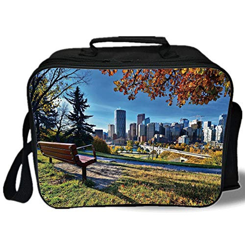 - Insulated Lunch Bag,City,Park Bench Overlooking the Skyline of Calgary Alberta During Autumn Tranquil Urban,Multicolor,for Work/School/Picnic, Grey