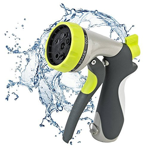 Garden Hose Nozzle By Gardeniar - Front Trigger - 8 Different Spray Settings - Heavy Duty Metal Construction - Flow Control Setting Knob- Ideal for Cleaning, Watering Plants and Garden or Automotive Car Wash Use - The Best Garden Nozzle around! ()