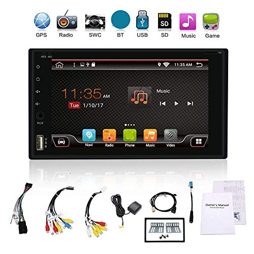 2G RAM 32G ROM 2 din Android 6.0 4 core car DVD Player 6.2 inch with GPS Navigation Stereo Support Bluetooth WiFi Mirror Link Steering Wheel OBD DAB AM/FM 128GB USB with Free Camera