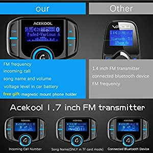 Acekool Bluetooth FM Transmitter with 1.7 Inch Display,Upgraded FM Transmitter with Quick Charge3.0,Wireless In-Car Radio Transmitter Adapter(AUX Input/Output, TF Card Slot,Hands Free Calling)