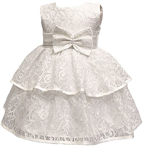 Toddler Baby Girls Lace Applique Christing Pageant Birthday Party Dress Ivory 12-24M