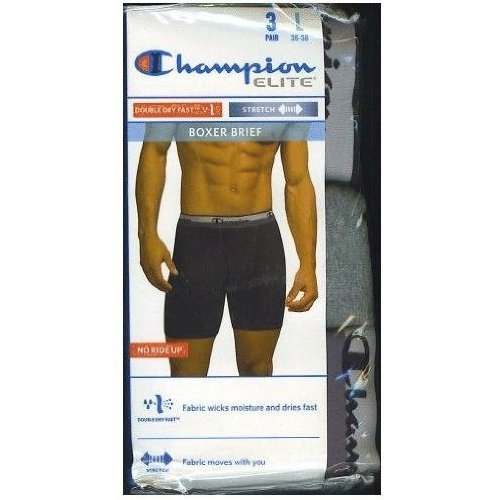 Champion Elite Active Fit Boxer Brief 3 Pack No Ride up Size Medium Black/Gray