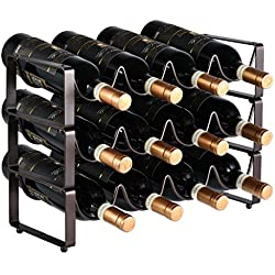 GONGSHI 3 Tier Stackable Wine Rack, Countertop Cabinet Wine Holder Storage Stand - Hold 12 Bottles, Metal