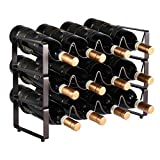GONGSHI 3 Tier Stackable Wine Rack, Countertop Cabinet Wine Holder Storage Stand - Hold 12 Bottles, Metal