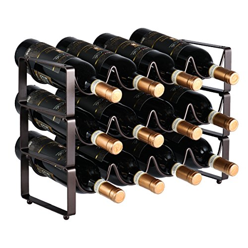 GONGSHI 3 Tier Stackable Wine Rack, Countertop Cabinet Wine Holder Storage Stand - Hold 12 Bottles, Metal (Bronze) (12 Bottle Wine Rack Black)