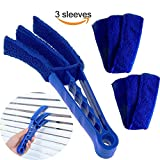 window blind cleaner - Window Blinds Cleaner Brush with 3 Microfiber Sleeves Removable for Window Blinds Duster Air Conditioner Jalousie Dust Cleaner(Blue)