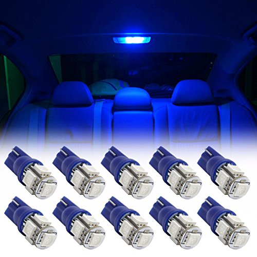 Partsam 10pcs Blue T10 194 168 W5W Interior Dome Map LED Lights Reading Lamp Bulbs (Dome Blue Led Lights compare prices)