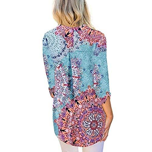 shirts Zhrui En T Femmes 4 V 3 couleur Fleurs Et À Manches Courtes Taille Avec De Col S ff5rwx