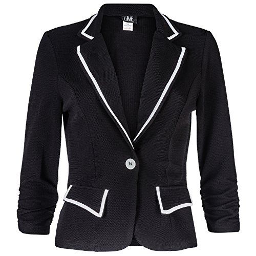 Contenta Women's Texture Knit Long Sleeve Contrast Trim Blazer Jacket. (large, black/white)