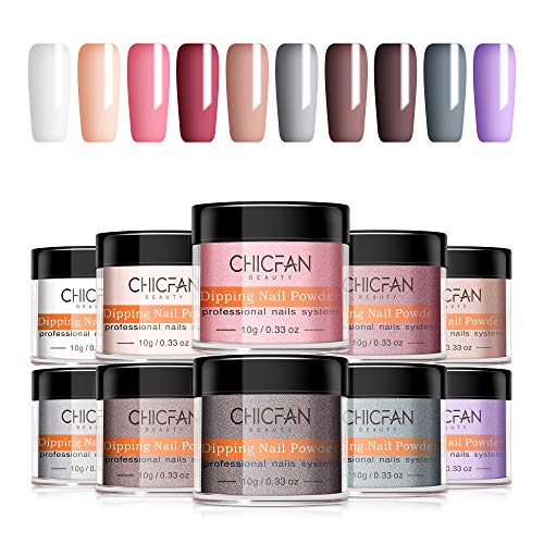 CHICFAN Nail Dip Powder Set - 10 Colors Dipping Powder Nail Gift Box for DIY Manicure - Nail Art Powder System