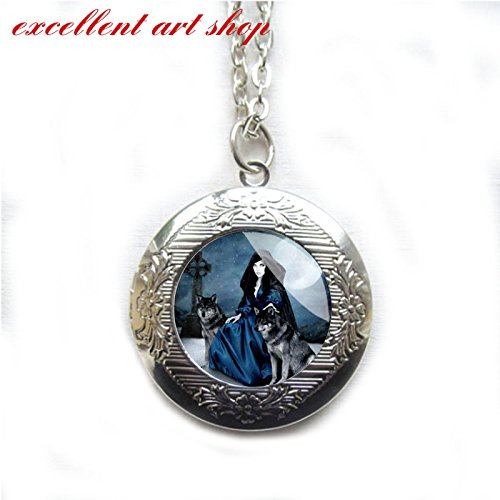 Locket,Witch,Witch Locket,witch and wolves ,wicked witch locket Silver Locket,Goddess,Halloween,Wicca,Fall,Black,Handmade - Locket Goddess