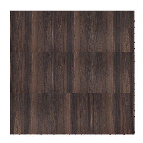 "Swisstrax ¾"" thick Interlocking ""Hardwood"" Floor Tiles (4' x 4' Section) - Dance Floors, Office Areas, Event Floors & more! (Dark Oak) by Swisstrax"