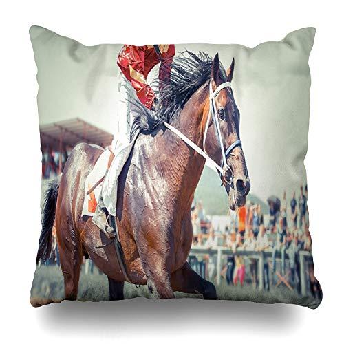 Ahawoso Throw Pillow Cover Square 18x18 Action Derby Racing Horse Kentucky Tripple Sports Recreation Race Racehorse Jockey Design Pillowcase Home Decor Cushion Case