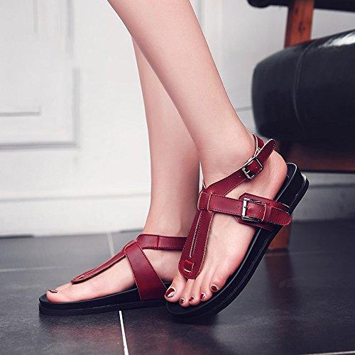 5 Mujer Y cn38 Zapatos De color Feifei Bottom Blanco Rojo Summer Opcional Tamaño Blanco Sandalias Casual uk5 Negro Flat Antideslizantes Eu38 fqHSFq5x1