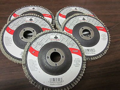 """5pc ALUMINUM OXIDE 60-GRIT 4"""" SANDING GRINDING WHEEL FLAP DISC 5/8"""" ARBOR ~ NEW from GOLIATH INDUSTRIAL TOOL"""
