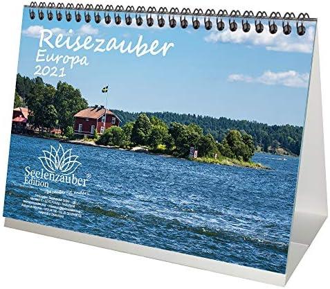 Reisezauber Europa DIN A5 Tischkalender für 2021 Europa Stadt und Land - Geschenkset Inhalt: 1x Kalender, 1x Weihnachts- und 1x Grußkarte (insgesamt 3 Teile)