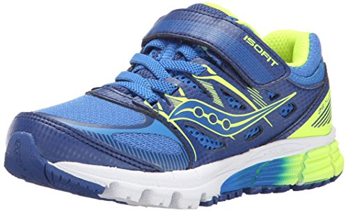 Saucony Zealot Alternative Closure Sneaker (Toddler/Little Kid), Blue/Citron,11.5 M US Little Kid