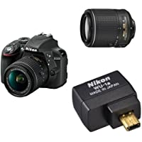 Nikon D3300 w/ AF-P DX 18-55mm VR Digital SLR (Black) w/ 55-200mm Lens and Wifi Adaptor
